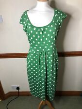 BODEN green spotted Casual Weekend Dress size 12 Long  . WH761