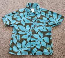 GYMBOREE Blue and Brown Tropical Print Short Sleeved Shirt Boys Size 4