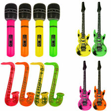 3 Inflatable Music Instruments Guitar/ Micro & SAXOPHONE COLOURFUL BLOW UP PARTY