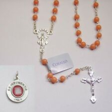 Pink Coral Gemstone Mini Rosary / Sterling Silver - Bonus St. Anthony Relic