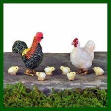 Miniature Dollhouse Fairy Garden Chicken Rooster Baby Chicks Figurine Set