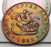 1852 PC-5B2 Halfpenny Token Province of Upper Canada Bank Breton 720, Free Ship