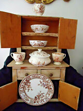 Ant Collection Brown Transferware - 9 Pcs Berry Bowl, 2 Bowls, Footed Cups, Plat
