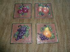 CERAMIC PLAQUES   FRUIT DESIGN PEACH/PEAR/GRAPES/PRUNE BYJULE ULELAND