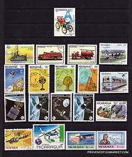 61 T1  NICARAGUA  De la 1ere voiture aux satellites  19 timbres oblitérés