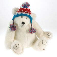 Connor 2013 Boyds Bears 16in white plush teddy bear in knitted hat 4034608