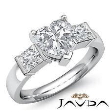 Three Stone Heart Diamond Bar Set Engagement Ring GIA H SI1 14k White Gold 1.6ct
