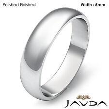 5mm Solid Platinum Dome Plain High Polish Mens Wedding Band Classic Ring 8.3gram