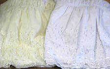 """EYELET DUST RUFFLE ELASTIC BEDSKIRT 14"""" DROP- QUEEN/KING COMES IN WHITE OR BEIGE"""