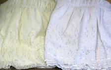 """EYELET DUST RUFFLE ELASTIC BEDSKIRT 18"""" DROP- QUEEN/KING COMES IN WHITE OR BEIGE"""
