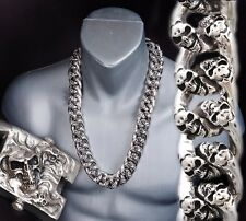 "24"" 840g Heavy Chunky Biker Curb Chain Skull 925 Sterling Silver Mens Necklace"
