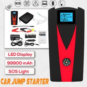 99900mAh LED Car Jump Start Starter 2 USB Charger Battery Power Bank Booster