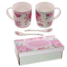 Kaffeebecher Set ROSEN mit Löffel Porzellan Laura Bell Chintz Kaffeetasse NEU