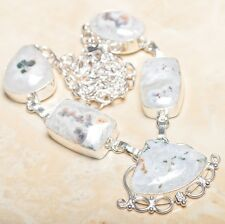 "Handmade Solar Quartz Natural Crystal 925 Sterling Silver Necklace 18"" #N00836"