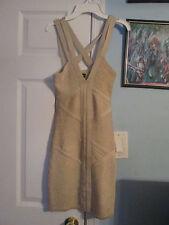 bebe bandage metallic dress xs cut out on the back     #569