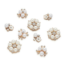 30pcs/set Acrylic Imitation Pearl and Rhinestone Flower Golden Alloy Cabochons