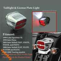 Chrome LED Taillight License Plate Light For Harley Softail FLST FXST Dyna FXD