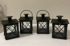 LANTERNS: 4 Mini Square Black Metal and Clear Glass Led Candle Lamps Hobby Lobby
