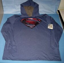 NEW Justice League Superman Long Sleeve DC Comics Lightweight Pull Over Hoodie
