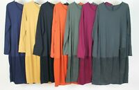 Ladies Italian Lagenlook Winter Ribbed Panel & Pocket Long Sleeve Tunic Dress