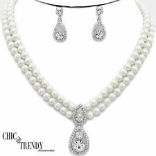 WHITE PEARL CRYSTAL BRIDE WEDDING FORMAL FASHION NECKLACE JEWELRY SET CHIC