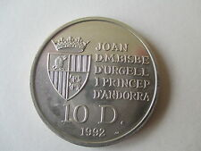 ANDORRA SILVER 10 DINERS COIN (BEARS DEPICTED) DATED 1992 EF