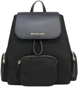 MICHAEL KORS ABBEY LARGE CARGO LIGHTWEIGHT NYLON BACKPACK BLACK