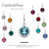 925 Sterling Silver Crystal Birthstone Pendant Necklaces (Chain Included)