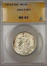 1941-D Walking Liberty Silver Half Dollar 50c ANACS MS 63