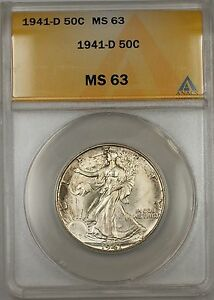 1941-D Walking Liberty Silver Half Dollar 50c ANACS MS 63