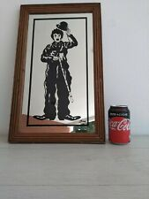 VINTAGE CHARLIE CHAPLIN MOVIE STAR FRAMED PAINTING ADVERTISING SIGNED MIRROR