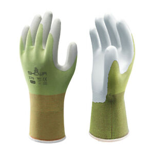 SHOWA 370 Lightweight Gardening Gloves Grippy Palm Breathable Liner Green