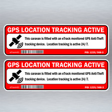 Caravan GPS Tracking Security Warning Stickers x2 15cm Wide Anti Theft #G015