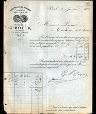 """PARIS (II°) ETOFFES pour AMEUBLEMENT """"BERNIER / BOYER Succ"""" en 1882"""