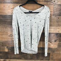 Rails Women's Heathered Grey Vneck Star Print Long Sleeve Top Size XS