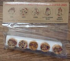 NEW 2005 Festival Japan Raggedy Ann Andy Camel Bear Friends Wooden PUSH PIN Set