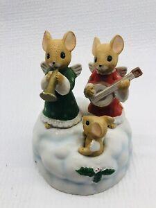 Enesco Music Box Christmas Mouse Trumpet Ukulele Red Green 1985