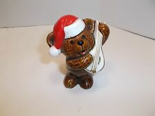 "VINTAGE CERAMIC CHRISTMAS SANTA BEAR w/ MANDOLIN FIGURINE 3"" CUTE!!"