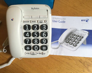 BT 200 Big Button Corded Phone with Handsfree Speaker Hearing Aid Boxed EX COND