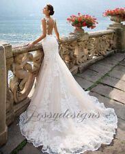 Mermaidschnitt Hochzeitskleid Brautkleid robe de mariée Träger Tattoo Spitze