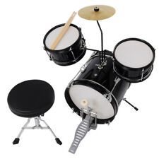 Black Drum Set 3pc Junior Complete Child Kids Kit w/ Maple Stool Sticks Seat