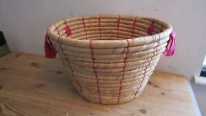 "12"" Thick Seagrass ? Storage Basket with Handles in Excellent Condition"