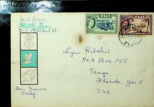 FIJI 1959 2v QE RAILWAY, SHIP ON COVER TO TAMPA FLORIDA IN USA