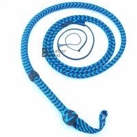 Indiana Jones Bull Whip 06 Foot 8 Plaits Blue Black Nylon Para-cord Bullwhip