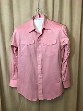 Mens Vintage 1960s Longhorn Western Shirt L Solid Pink Long Sleeve poly/cotton