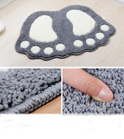 Non Slip Bath Toilet Mat Cute Big Feet Bathroom Shower Rugs Shaggy Carpet Mat