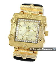 diamond Retro Dress Watch gold tone ice out hip hop master square business maxx