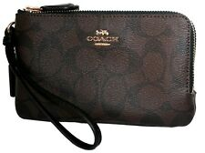 Coach Leather Signature PVC Double Zip Wallet Wristlet Clutch F87591 F87590 NWT