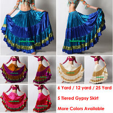 Mix Color Satin 6/12/25 Yard Tiered Gypsy Skirt Belly Dance Ruffle Flamenco Jupe