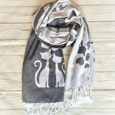 Oversized Reversible Blanket Scarf With Cat Design